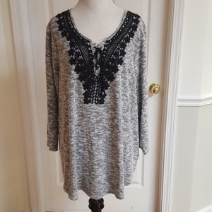 Knit Top With Lace Accents
